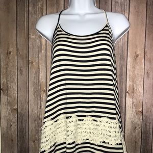 Black & White Striped Tank with Lace Detail